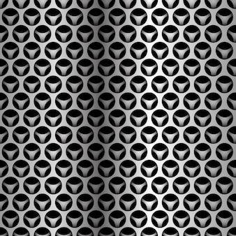 Nahtloses muster der silbernen kreismaschenüberlappung