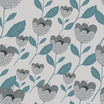 Nahtloses muster der skandinavischen blumen. schöne vintage-botanik-textur.