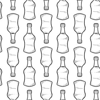 Nahtloses muster der sojasoßenflasche