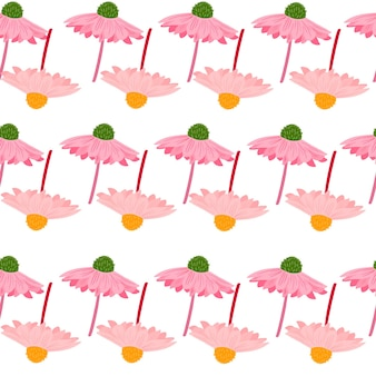 Nahtloses muster der sommerart mit rosa kreativen gerberablumen