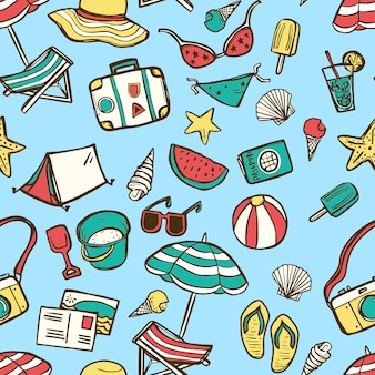 Nahtloses muster der sommerelemente, sommerkollektionen im handgezeichneten stil