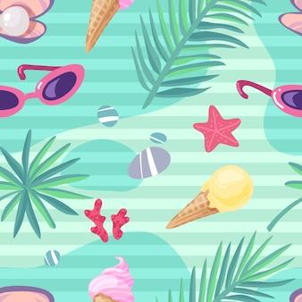 Nahtloses muster der sommerferienartikel. sommerstrand nahtlose musterkarikatur seeikonen dinge tropische blätter