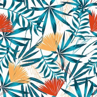 Nahtloses muster der sommertendenz mit hellen tropischen blättern, anlagen und blumen