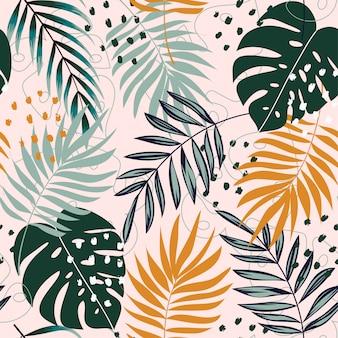 Nahtloses muster der sommertrend-zusammenfassung mit tropischen blättern