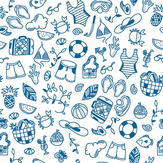 Nahtloses muster der sommerzeit für hintergründe und drucke auf papier oder textil