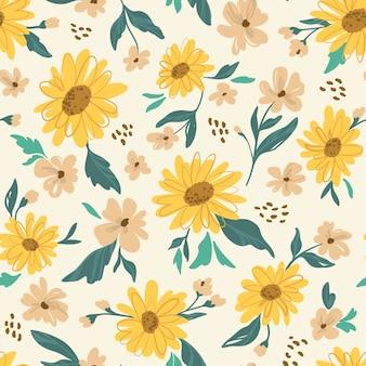 Nahtloses muster der sonnenblume. gelbes gänseblümchen.