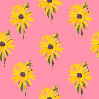 Nahtloses muster der sonnenblume mit blätteraquarellart