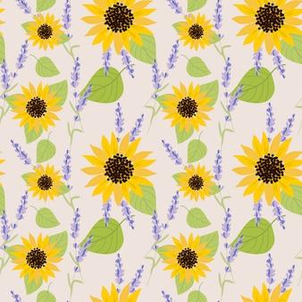 Nahtloses muster der sonnenblume und des lavendels.