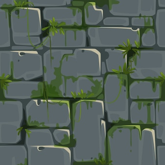 Nahtloses muster der steinbacksteinmauer für dschungelthemavektor