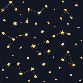 Nahtloses muster der sternbilder. goldene sterne auf dunklem nachthimmelhintergrund.