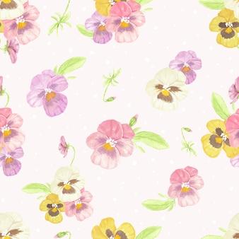 Nahtloses muster der stiefmütterchenblume des aquarells