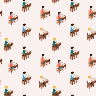 Nahtloses muster der studenten, die im klassenzimmer sitzen