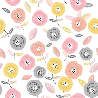 Nahtloses muster der süßen bunten rosenblume