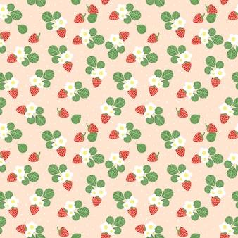 Nahtloses muster der süßen erdbeeren