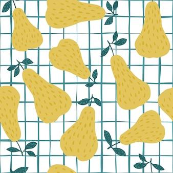 Nahtloses muster der süßen gelben birne auf streifenhintergrund.
