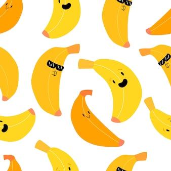 Nahtloses muster der süßen kawaii bananenfrucht süße frucht mit lächelnmuster