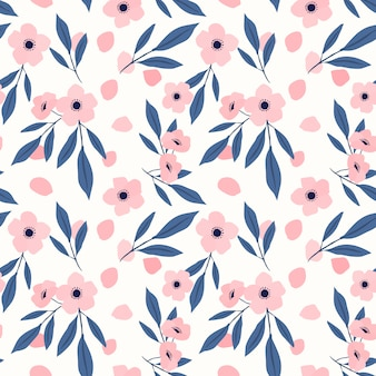 Nahtloses muster der süßen rosa blume