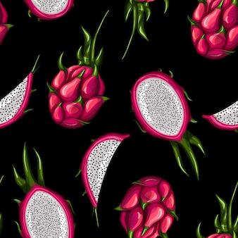 Nahtloses muster der süßen roten drachenfrucht auf schwarzem hintergrund. ganz, halb und in scheiben schneiden.