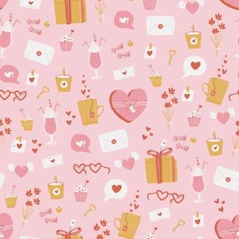 Nahtloses muster der süßen valentinsgrüße