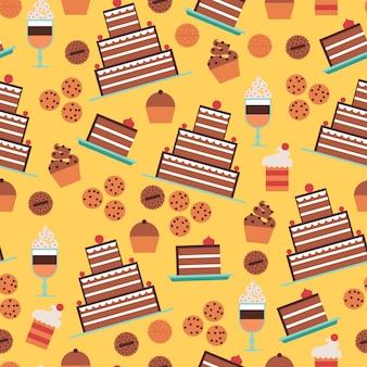 Nahtloses muster der süßigkeiten und der kuchen mit nachtischen und plätzchen auf gelbem hintergrund
