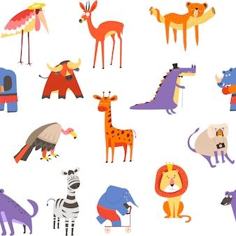 Nahtloses muster der tiere, löwe und zebra, makaken und elefant
