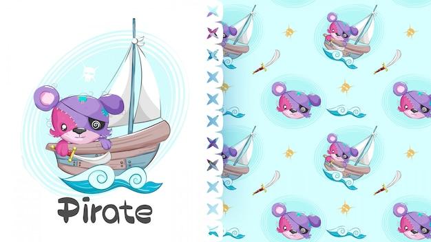 Nahtloses muster der tierischen kleinen piraten des netten bären