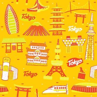Nahtloses muster der tokyo-stadt mit marksteinelementen