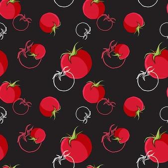 Nahtloses muster der tomate auf schwarzem hintergrund