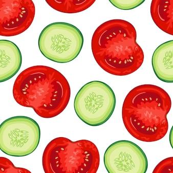 Nahtloses muster der tomaten- und gurkenscheiben.