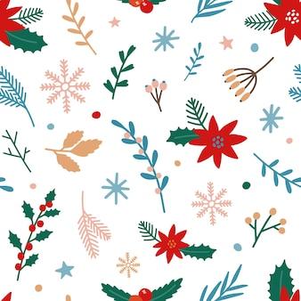 Nahtloses muster der traditionellen weihnachtspflanzen