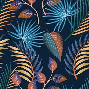 Nahtloses muster der tropischen blätter auf dunklem hintergrund.