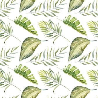 Nahtloses muster der tropischen blätter des aquarellgrüns, handgemalt lokalisiert.