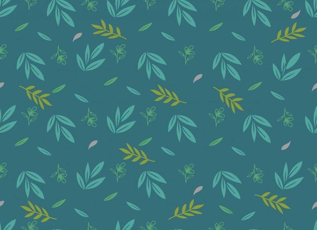 Nahtloses muster der tropischen blätter, frühlingsblume.
