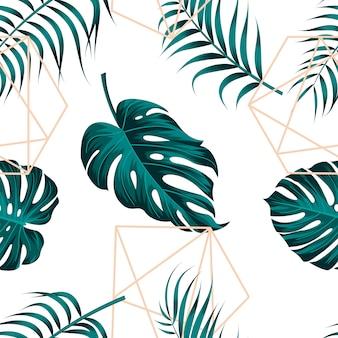 Nahtloses muster der tropischen blätter mit abstrakter geometrischer linie