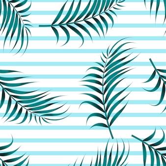 Nahtloses muster der tropischen blätter mit horizontalen linien
