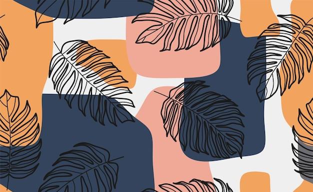 Nahtloses muster der tropischen blätter