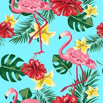 Nahtloses muster der tropischen blattblume und -flamingos.