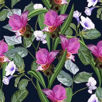 Nahtloses muster der tropischen blume mit siam-tulpe und schnellbohne blühen
