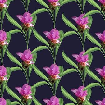 Nahtloses muster der tropischen blume mit siam-tulpe