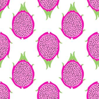 Nahtloses muster der tropischen exotischen drachenfrucht. hintergrund mit pitaya für designstoff