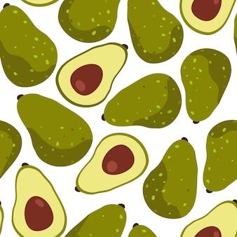 Nahtloses muster der tropischen frucht avocado auf weißem hintergrund. vektorillustration im flachen stil.