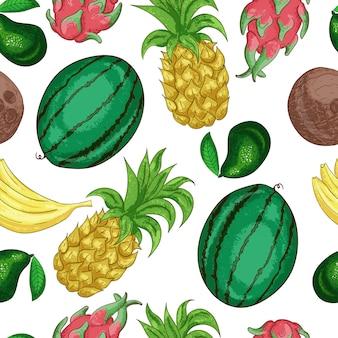Nahtloses muster der tropischen fruchten. süße tropische frucht schnitt in stücklinie kunst. exotische ananas farbe. vitaminhaltiger nachtisch, bestandteil der vegetarischen diät