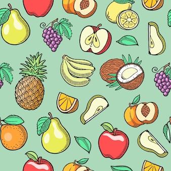 Nahtloses muster der tropischen früchte der skizze.