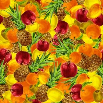 Nahtloses muster der tropischen früchte