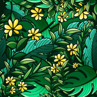 Nahtloses muster der tropischen grünen blätter