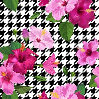 Nahtloses muster der tropischen hibiskus-blume. floraler geometrischer sommerhintergrund für stofftextilien, tapeten, dekor, geschenkpapier. aquarell botanisches design. vektor-illustration