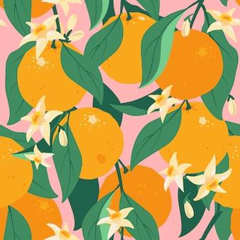 Nahtloses muster der tropischen sommerzitrusfrüchte mit blättern und blüten. orange früchte muster. zitrusbaum im handgezeichneten stil. stoffdesign mit orange auf zweigen mit blättern und blüten.