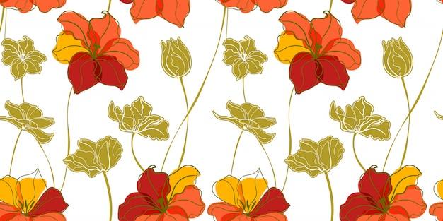 Nahtloses muster der tulpenwiese im skandinavischen stil