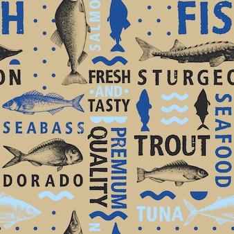 Nahtloses muster der typografischen vektorfische