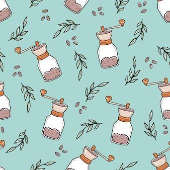 Nahtloses muster der umriss-retro-kaffeemühlen und inmitten von blättern und bohnen handgezeichnet im gekritzelstil